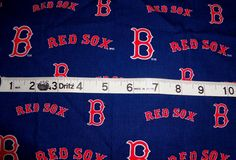 Boston Red Sox cotton fabric scrap project crafts material 10 x 17 via Etsy