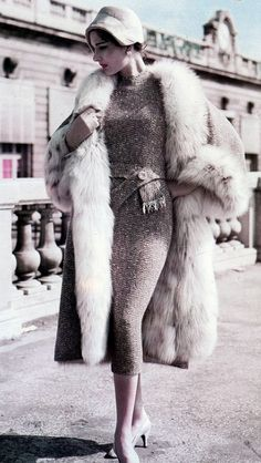 Pierre Balmain Design,1957. Love the sparkly sweater dress - wouldn't you love to curl up in this coat? http://dubaimexa.com/