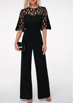 Round Neck Lace Panel Scalloped Hem Jumpsuit on sale only US$32.76 now, buy cheap Round Neck Lace Panel Scalloped Hem Jumpsuit at liligal.com