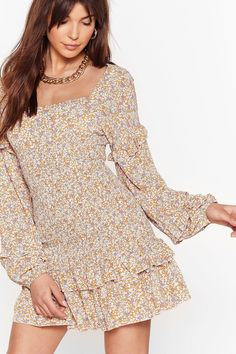 Gorgeous Floral Dress for Cottagecore Aesthetic #AD #affiliate Nice Dresses, Short Dresses, Women's Dresses, Wrap Dress Floral, Long Sleeve Mini Dress, Tee Dress, Nasty Gal, Style Guides, Dress To Impress