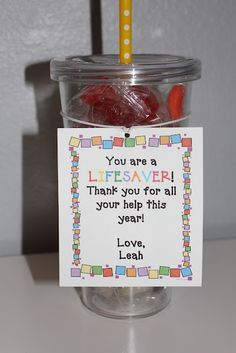 "Cute and inexpensive gift idea for parent helpers OR you could change the last sentence to make it fittting for friends, neighbors, etc… that have come to your ""rescue."""