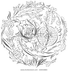 Floral ornament drawing in a circular composition with stylized. - Engin Korkmaz – Floral ornament drawing in a circular composition with stylized Ottoman Turkish f - Pomegranate Vector, Coloring Books, Coloring Pages, Coloring Tips, Ornament Drawing, Turkish Art, Turkish Design, Motif Floral, Floral Design