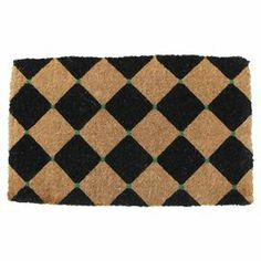 """Extra-thick handmade coir doormat with a stenciled diamonds motif.  Product: DoormatConstruction Material: 100% CoirColor: Natural, black and greenFeatures:  Stenciled with permanent fade-resistant dyesHandmade in India Dimensions: 18"""" x 30"""""""