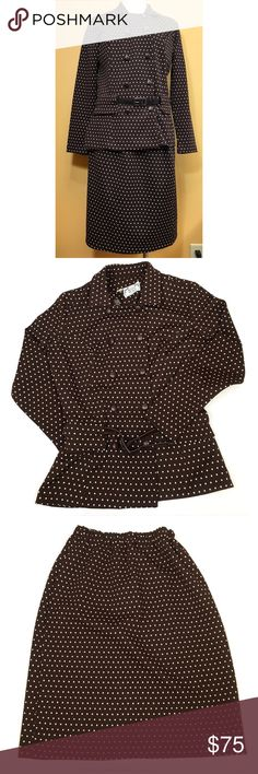Vintage Brown w/ White Polkadot Skirt Suit Set Super cute brown with white polkadot two piece jacket and skirt suit set with matching belt. Retro vintage - probably 70's.   No material tags but feels like polyester. Buttons look like they are leather wrapped (could be faux leather).  Machine washable so that's a definite plus!  Brand: Roney Place Size: 14 (vintage, please compare measurements)  Condition: good pre-owned condition. Belt shows a little wear.  Measurements in the comments…