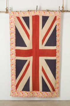 A one-of-a-kind cover, repurposed from a  circa 1900 Union Jack flag. #FlagBlanket #Anthropologie #GiveGreat