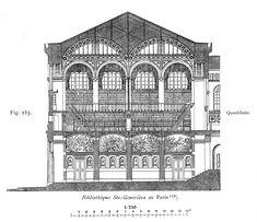 St. Genevieve Bibliotheque // Section   1844-1850  ~Henri Labrouste  Paris, France      media_4.jpg (1575×1359)