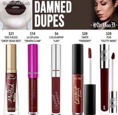 Kat Von D liquid lipstick dupes in the shade Damned // Kayy Dubb