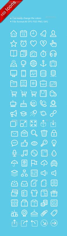 Flat linear common icons