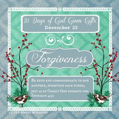 Little Birdie Blessings : 25 Days God Given Gifts - Day 23 - FORGIVENESS
