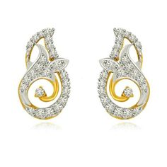 83bb994071e81 Unconditional Love Two Tone Gold   Diamond Earrings Solitaire Earrings