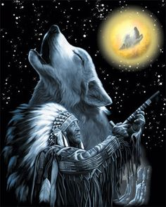 A Native American Indian and his spirit animal guide. Native American Religion, Native American Wolf, Native American Pictures, Native American Artwork, American Indian Art, Native American History, American Indians, Indian Wolf, Native Indian