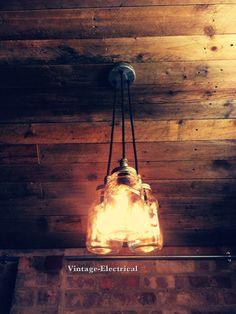 3 x Kilner hanging mason jar lights ceiling by VintageElectrical
