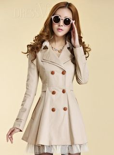 Shop High Quality Perfect Slim Korean Lapel New Arrival Lace Double-breasted Long Trench Coat At Dressve.Com, And The Price Is Low Only At US$48.99