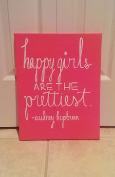 Happy Girls are the Prettiest Audrey Hepburn by QuotesOfNote, $18.00