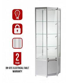 650mm aluminium corner glass and storage display