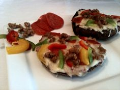 Portobello mushroom pizza. Use the mushroom as the crust for a low-carb, healthier pizza meal