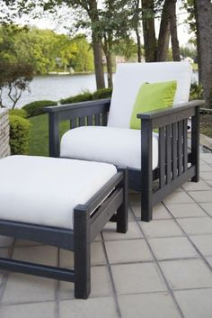 Everyone needs a little space of their own. Fill that space with the POLYWOOD® Mission Deep Seating Set and you'll enjoy the ultimate in comfort and style. This set includes a deep-seated Mission Chair and comfortable Club Ottoman, making it the p Used Outdoor Furniture, Patio Furniture Sets, Outdoor Chairs, Indoor Outdoor, Outdoor Living, Log Furniture, Antique Furniture, Recycled Furniture, Furniture Storage