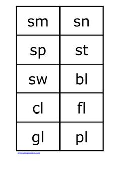 consonant blends - an example.. lots of printable flashcards at this site