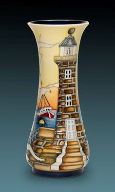 Moorcroft 'Out at Sea' by Kerry Goodwin. Exclusive Design Details lighthouse boats seagull