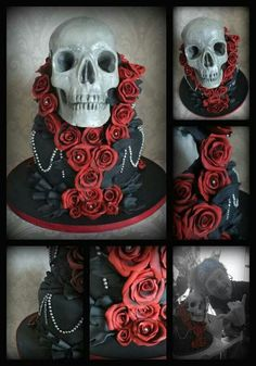 Black cake with skull and red roses