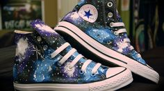 Outer space shoes converse sneakers all star blue