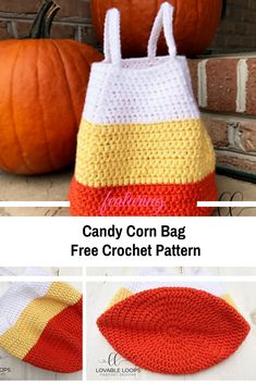 [Free Pattern] Easy Crocheted Candy Corn Bag Pattern - Knit And Crochet Daily Bag Pattern Free, Bag Patterns To Sew, Tote Pattern, Knitting Patterns, Wallet Pattern, Pattern Fabric, Sewing Patterns, Crochet Quilt, Crochet Tote