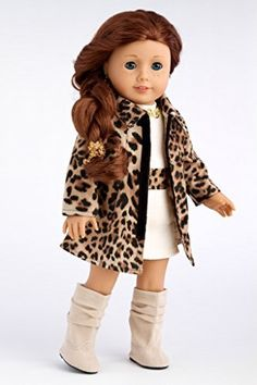 Fashion Girl - Cheetah Coat, Ivory Dress and Ivory Boots - 18 Inch American Girl Doll Clothes Price : $28.97 http://www.dreamworldcollections.com/Fashion-Girl-Cheetah-American-Clothes/dp/B00JQVZPAE