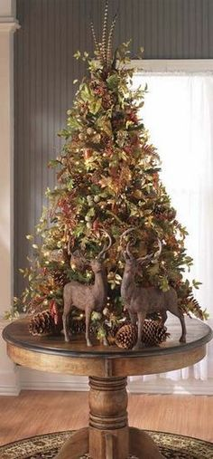 Rustic vintage old world style ole time deer woodland Christmas tree winter wonderland theme xmas Woodland Christmas, Noel Christmas, Country Christmas, Winter Christmas, Christmas Crafts, Christmas Photos, Christmas Island, Christmas Tree On Table, Tabletop Christmas Tree