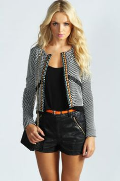 Lauren Aztec Trim Waffle Knit Jacket at boohoo.com