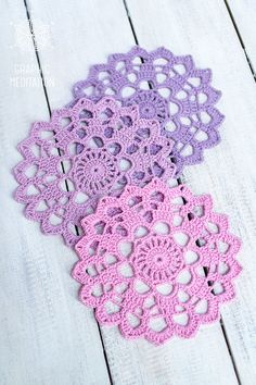 Wonderful set of 3 crochet doily coasters will be perfect for wedding table decor, home décor, sewing crafts, holiday decorating, and so much more! These tender colors set of cup coasters would look great on your table for summer! Doily size: 6 inches (15 cm). Colors: pink, lilac,