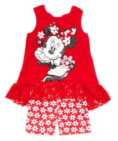 Look at this #zulilyfind! Red Minnie Mouse Ruffle Tank & Shorts - Girls by Minnie Mouse #zulilyfinds