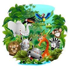 mata magnetyczna Dzikie zwierzęta animowany o Jungle Animali Selvaggi nella Giungla