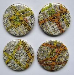 City of London Map Badges - Folksy  http://folksy.com/items/3375258-City-of-London-Map-Badges