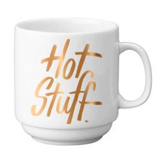 "State the obvious with our 12 oz. stackable porcelain mugs. Gold foil. Of course. Mug Height: 3.625""  Not a fan of microwaves. Hand wash recommended."