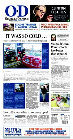 The front page for Thursday, Jan. 24, 2013: Outdoor laborers work hard to stay warm as temps drop