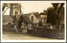 ATMOSPHERIC VIEW OF THE LYCH GATE, CHURCH & CASTLE, Dunster, Somerset, England. 1930s?