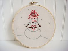 snowman hand embroidery pattern. $4.00, via Etsy.