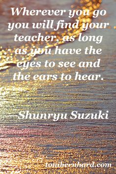 The eyes to see and the ears to hear...Shunryu Suzuki