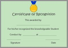 Certificate of Recognition Templates: Best Ideas and Free Samples - Demplates Certificate Of Recognition Template, Certificate Templates, Certificate Of Appreciation, Award Certificates, Natural Makeup Looks, Free Samples, Are You The One, Awards, Students