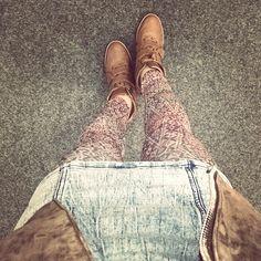 "//Outfit of the day - ""Urban Apache""  Leggings: Hudson, Lederjacke: Mango, Jeanskleid: Primark, Schuhe: Deichmann  xoxo loo"