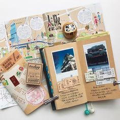 Travel journal pages and inspiration – ideas for travel journaling and art journaling. Travel journal pages and inspiration – ideas for travel journaling and art journaling. Album Journal, Travel Journal Pages, Travel Journal Scrapbook, Travel Journals, Memory Journal, Journal App, Travel Books, Photo Journal, Scrapbook Printables