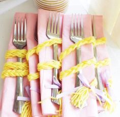 Rapunzel braid utensil pack from a Rapunzel Birthday Party on Kara's Party Ideas | KarasPartyIdeas.com (5)