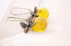 Boucles doreilles abeilles pissenlit ambre verre boucles