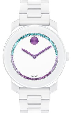 Movado Bold - Mid-size Movado BOLD watch, 36 mm white TR90 composite material and stainless steel case, white dial with purple to green color spectrum crystal-set ring, and purple sunray dot and hands, white TR90 composite material and stainless steel bracelet with deployment clasp, K1 crystal, Swiss quartz movement, water resistant to 30 meters, MADE WITH SWAROVSKI ELEMENTS.