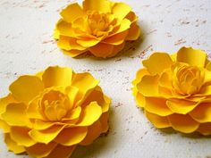 The Marigold Paper Flowers - Canary Yellow - set of 3