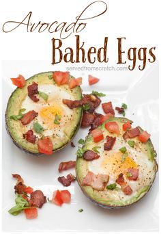 Bake those eggs right IN your avocados for a hearty, healthy breakfast! Then add some crumbled cripsy bacon on top while you're at it!