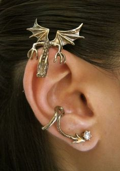 Curious Dragon Ear Wrap Cartilage Piercing Bronze Earrings #cartilage #piercing #earrings www.loveitsomuch.com