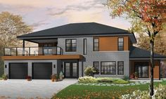 Modern Plan: 2,729 Square Feet, 3 Bedrooms, 2 Bathrooms - 034-01053