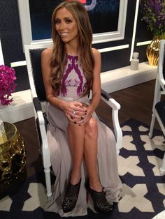 What Giuliana Rancic wore on April 13. DRESS: H   RING: CC Skype  SHOES: Christian Louboutin