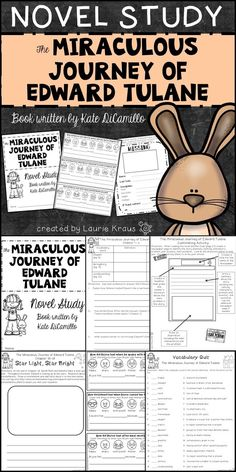 This novel study of The Miraculous Journey of Edward Tulane will provide students with activities to practice their reading skills. Students will demonstrate an understanding of vocabulary and comprehension by completing activity sheets for every three chapters read. Students will complete extension activities that will enable to respond to the novel in creative ways.